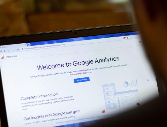 Screen showing Google Analytics